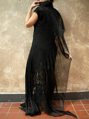 BlckBts Felted Black One Sleeve Kaftan