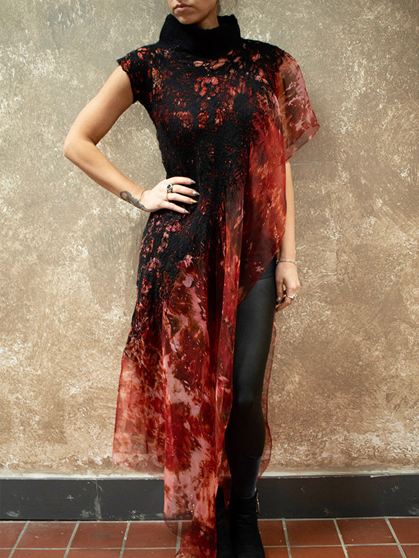 BlckBts Felted Fire One Sleeve Kaftan