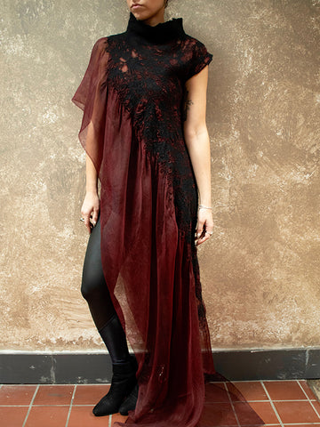 BlckBts Felted Burgundy One Sleeve Kaftan