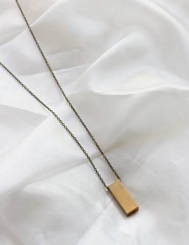 Moon + Arrow Brass Rectangle on Long Necklace