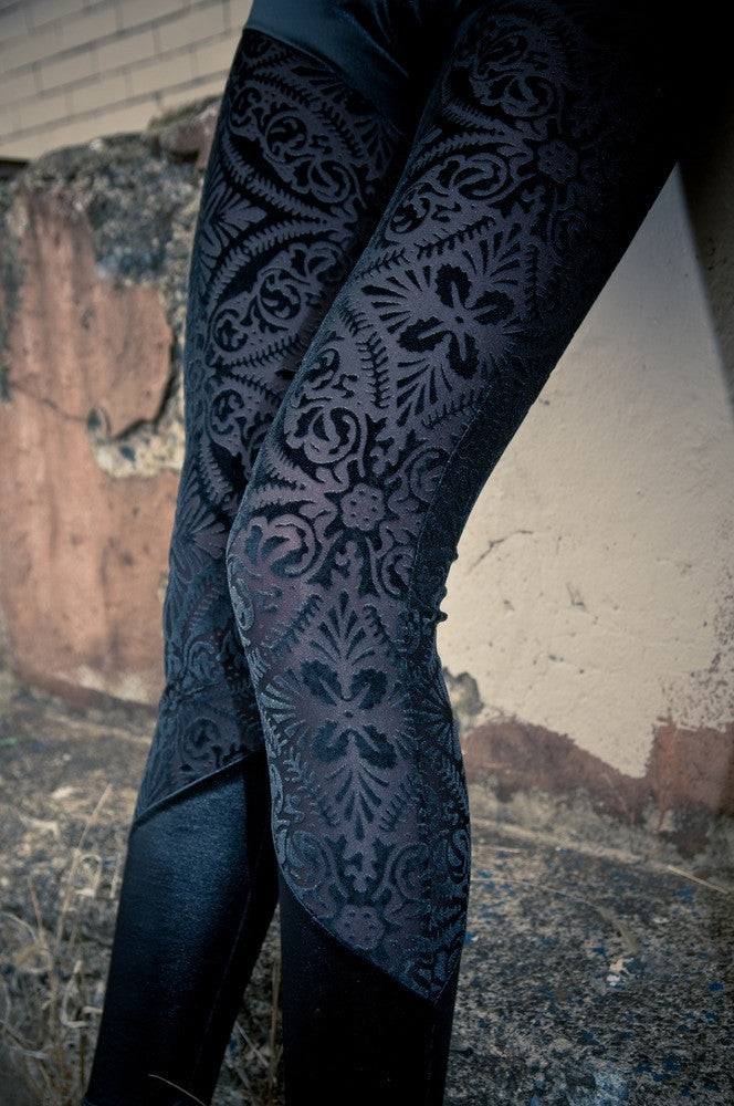 Sophi Reaptress Black Sheer Velvet Burnout Brocade Leggings