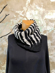 BlckBts Felted Black & White Striped Cowl Neck Scarf
