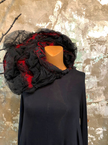 BlckBts Felted Black & Red Statement Neck Piece