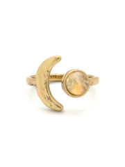 Hiouchi Mini Moon Adjustable Ring ~ Gold / Citrine