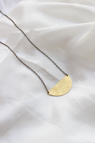 Moon + Arrow Half Moon Necklace