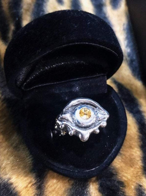 Hellhound Jewelry Dripping Eye Ring with Citrine