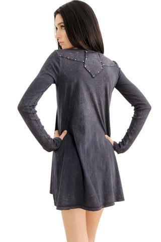 Tough Luv Acid Washed Long Sleeve Dress