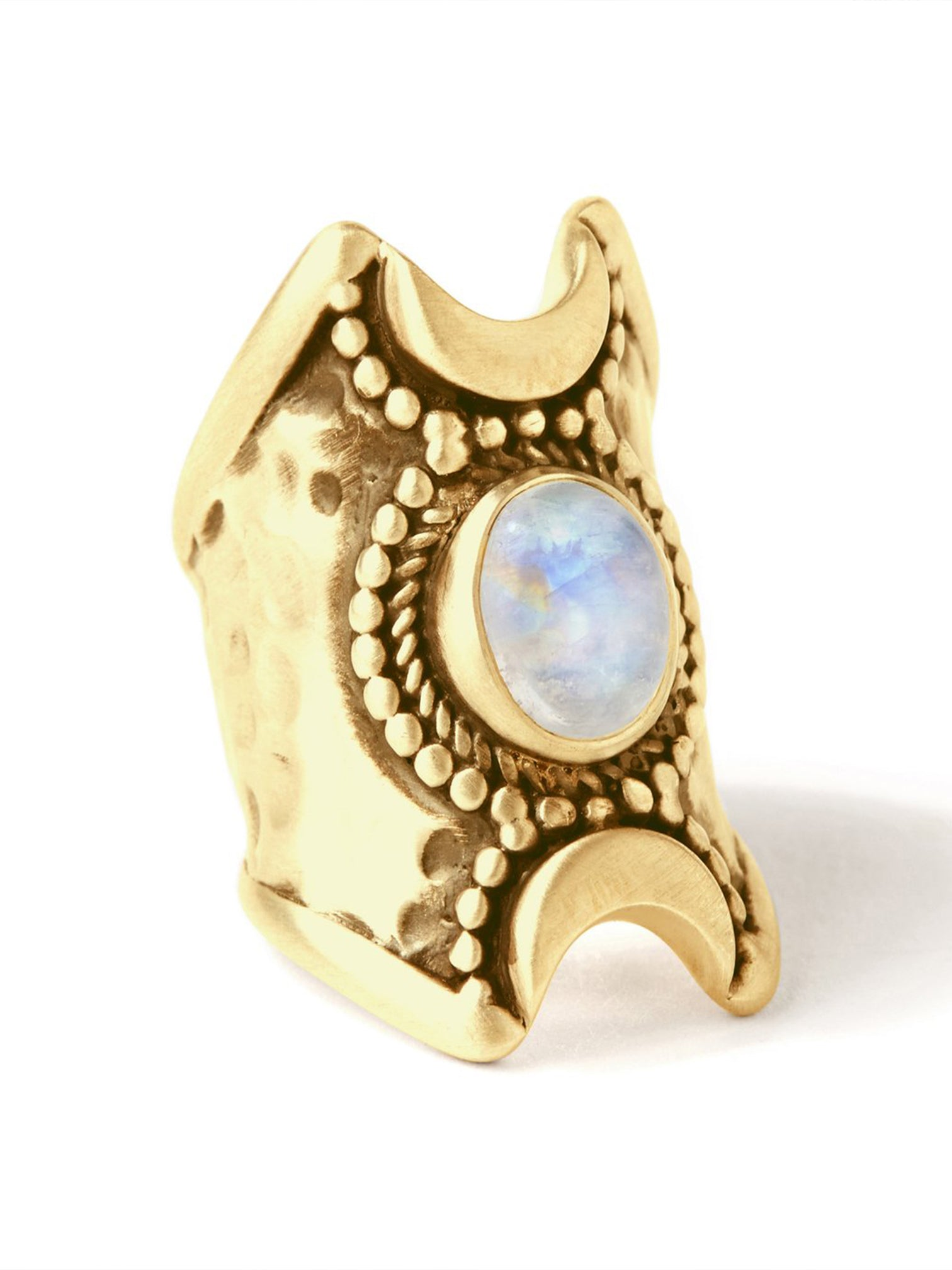 Hiouchi Crescent Moons Ring | Gold / Moonstone