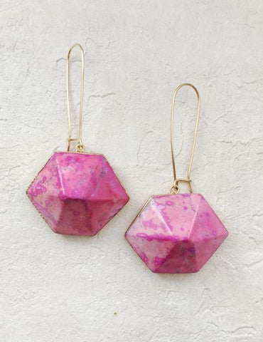 Nuance Pink Howlite Hexagon Earrings