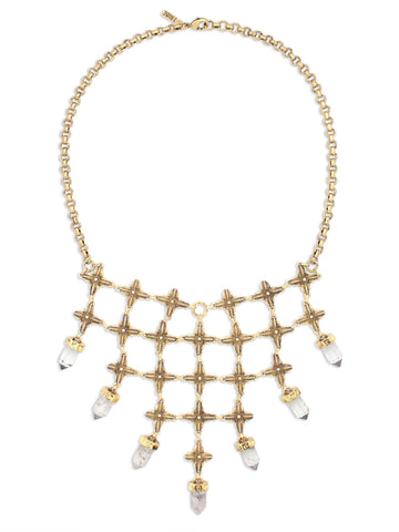 Hiouchi Shine On Crystal Bib Necklace | Antique Finish Gold