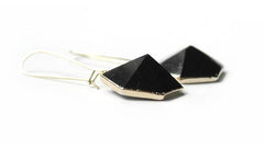 Nuance Black Tourmaline Hexagon Earrings