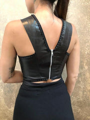Emily Rose Cropped Leather Top