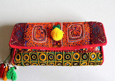 Vintage Kutch Embroidery Clutch (Design 20)