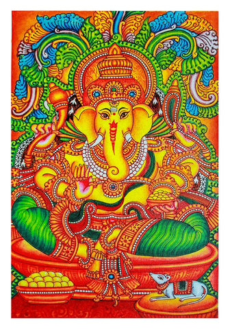 Hand Painted Kerala Mural Painting Design 18