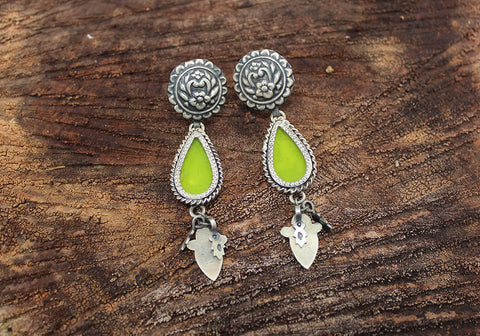 Sterling Silver Earrings with Glass Enamel