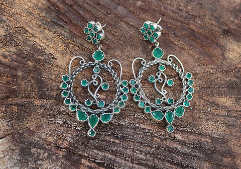 Sterling Silver Earrings with Stones Design 17