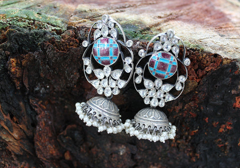 Sterling Silver Earrings with Stones Design 53