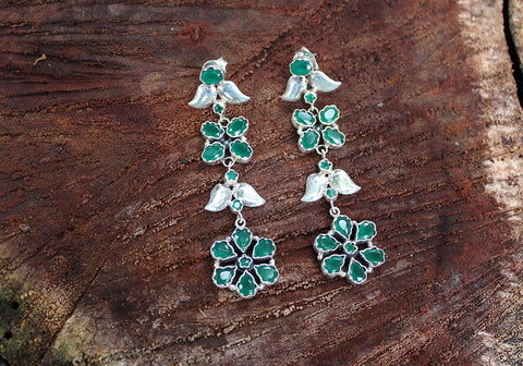 Sterling Silver Earrings with Stones Design 50