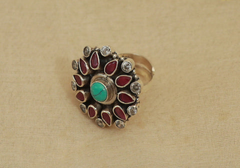 Adjustable Silver Ring with Stones Design 5