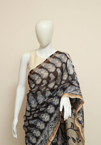 Chanderi Printed Kalamkari Saree Design 1