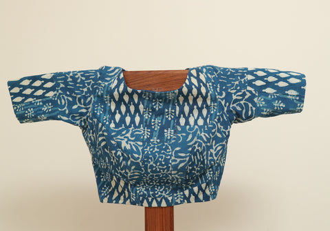 Block Printed Indigo Blouse Design 1
