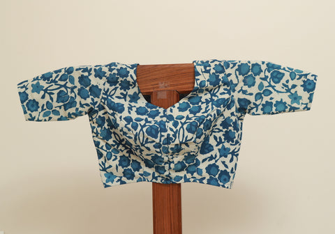 Block Printed Indigo Blouse Design 2