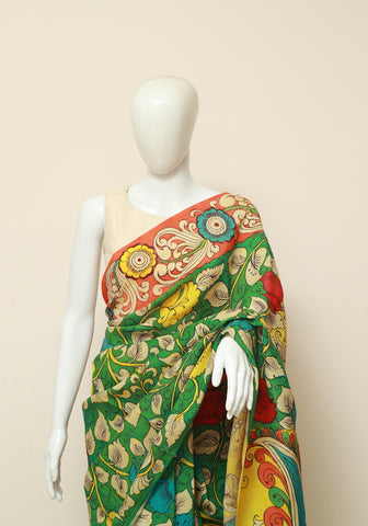 Crepe Silk Hand Painted Kalamkari Saree Design 2