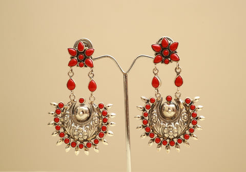 Sterling Silver Earrings with Stones Design 43