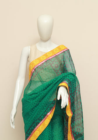 Blockprinted Dark Green Kota Saree with Yellow Border