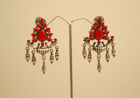 Sterling Silver Earrings with Stones Design 48