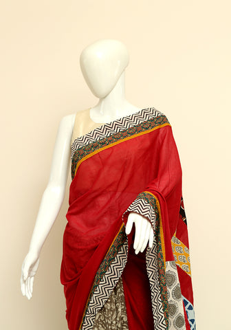 Block Printed Designer Mul Cotton Saree Design 74