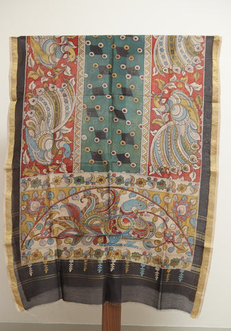 Chanderi Hand Painted Kalamkari Dupatta Design 7