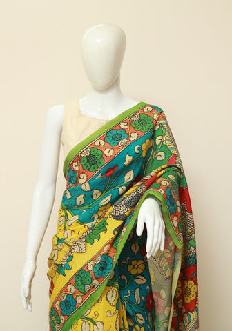 Crepe Silk Hand Painted Kalamkari Saree Design 3