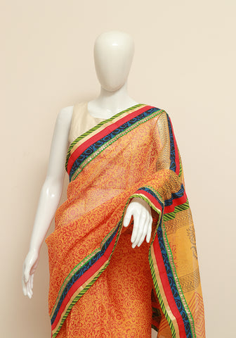 Blockprinted Yellow Kota Saree with Multicolour Border
