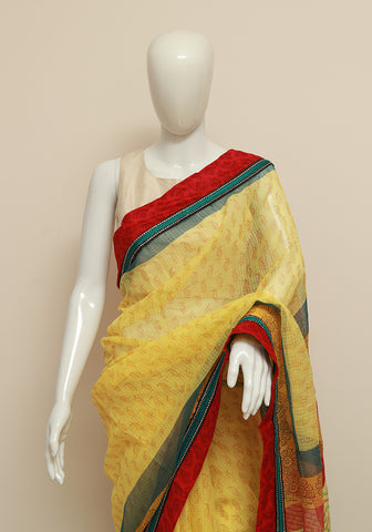 Blockprinted Yellow Kota Saree with Red Border