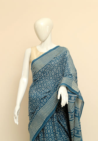 Block Printed Mul Cotton Saree Design 26