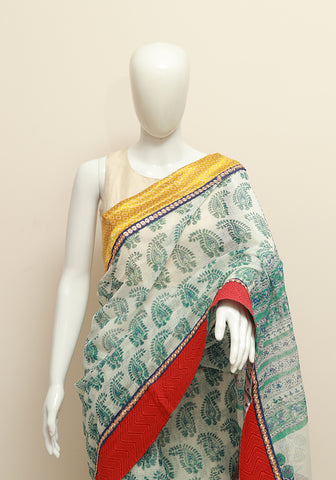 Blockprinted White Kota Saree with Yellow and Red Border
