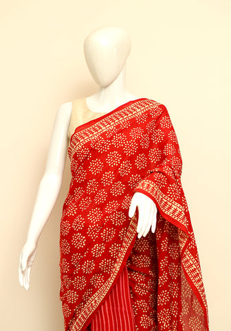 Block Printed Mul Cotton Saree Design 32