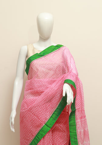 Blockprinted Pink Kota Saree with Green Silk Border and Kutch work
