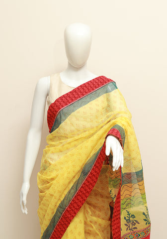 Blockprinted Lime Yellow Kota Saree with Red Border and Kutch work