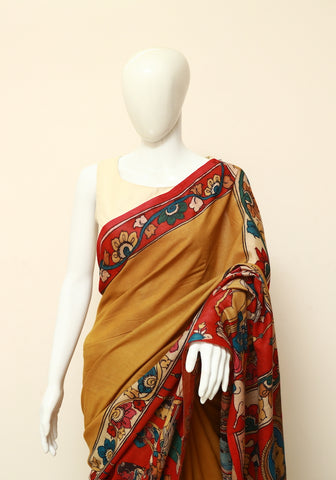 Tussar Cotton Pen Kalamkari Saree