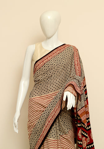 Block Printed Mul Cotton Saree Design 36