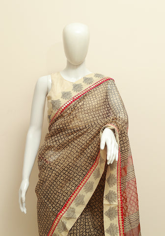 Blockprinted Black Kota Saree with White Border