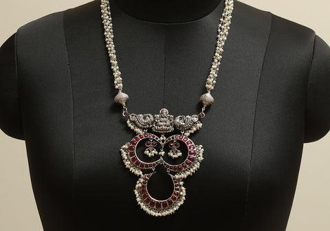 Unique Sterling Silver Necklace with Pearls