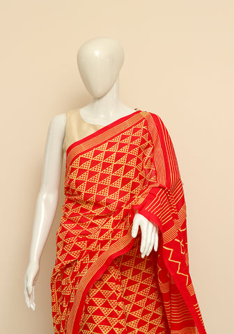 Block Printed Mul Cotton Saree Design 39