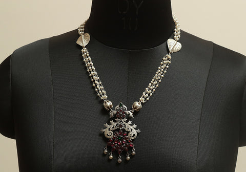 Unique Sterling Silver Necklace with Pearls Design 2
