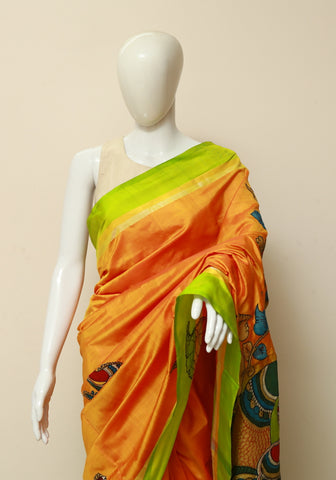 Orange Uppada Saree with Applique Kalamkari Embroidery