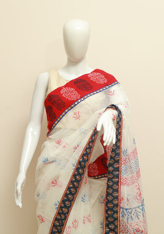 Blockprinted White Kota Saree with Blue and Red Border
