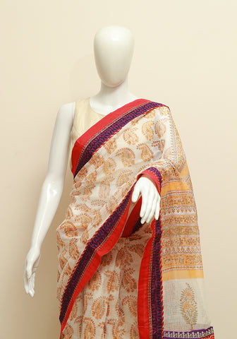 White and Yellow Kota Saree with Red and Purple Border