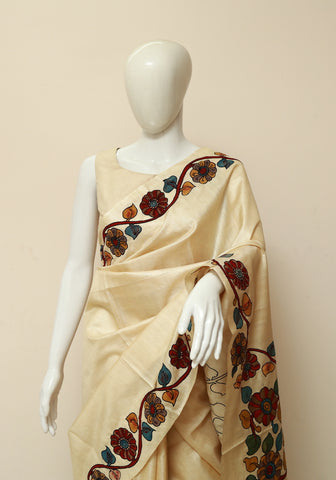 Off-white Tussar Silk Saree with Kalamkari Applique work